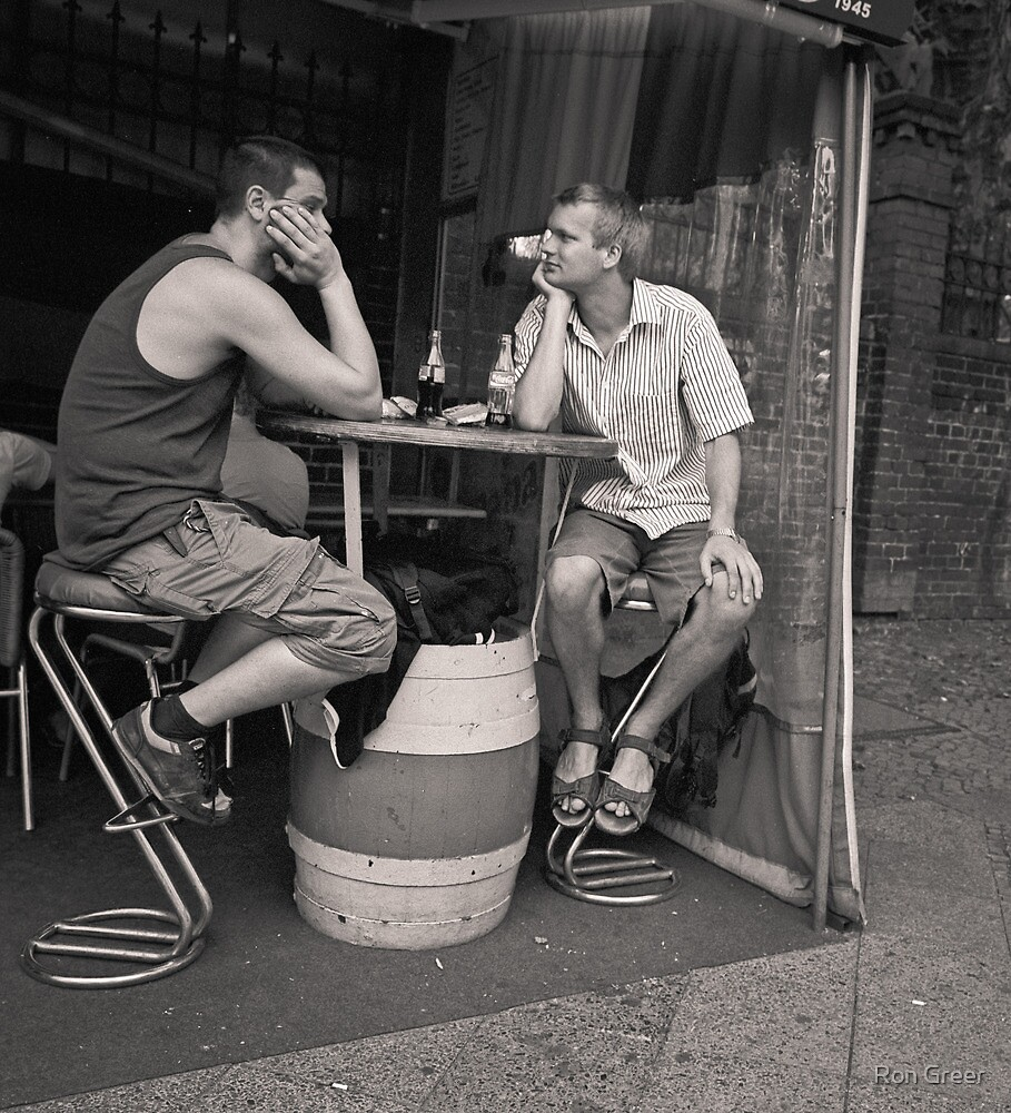 two men, two beers by Ron Greer