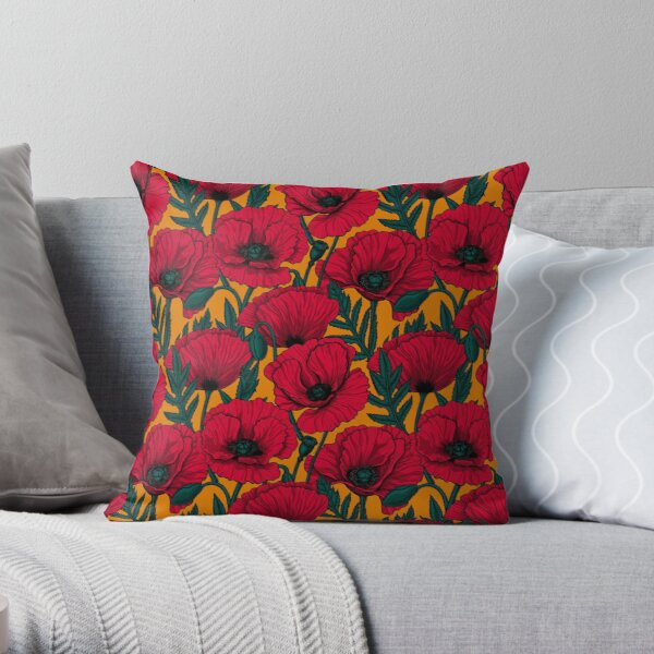 Red poppy garden Throw Pillow