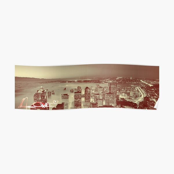 Love Seattle Skyline Panorama Poster