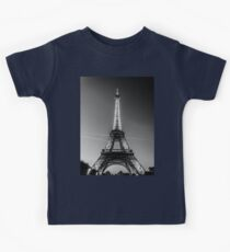 Eiffel Tower and sunset (Black and White) Kids Tee