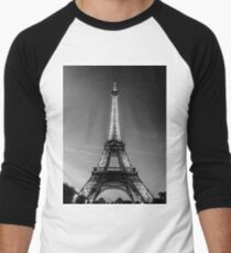 Eiffel Tower and sunset (Black and White) Men's Baseball ¾ T-Shirt