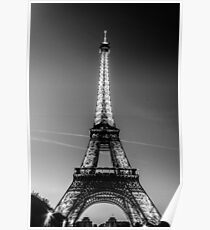 Eiffel Tower and sunset (Black and White) Poster