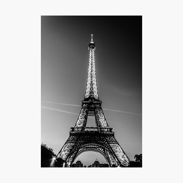 Eiffel Tower and sunset (Black and White) Photographic Print