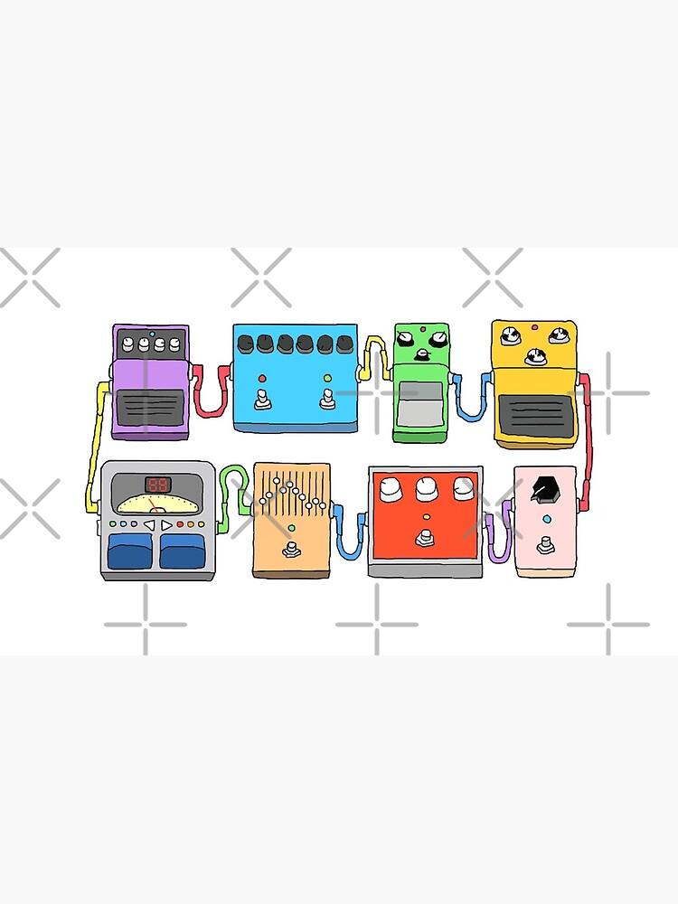 GUITAR PEDALS Recording Studio Engineer Guitarist Gear Foot Effect Pedals Music Illustration Mug Sticker T-Shirt Etc... by blueversion