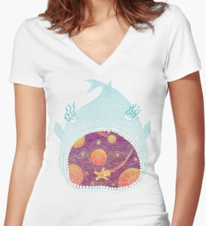 Cosmic Fish with Gingerbread Astronaut Women's Fitted V-Neck T-Shirt