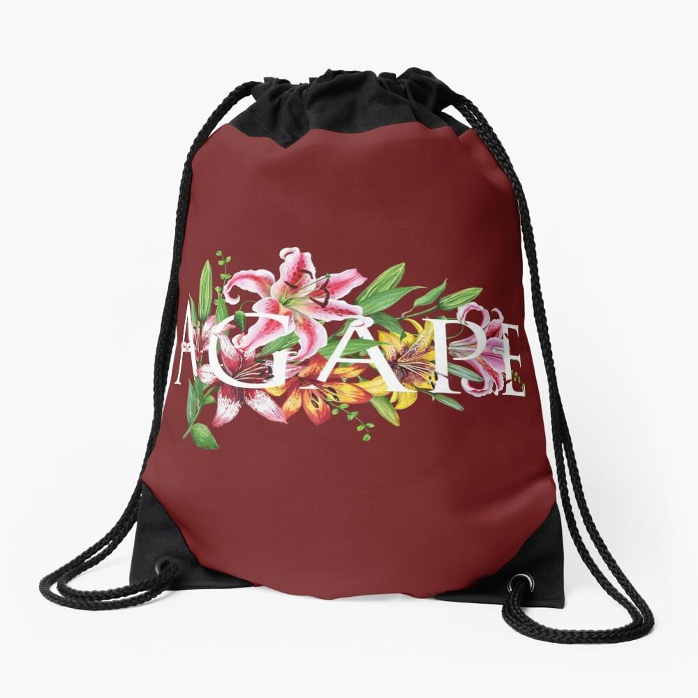AGAPE (MAROON FLORAL) Drawstring Bag