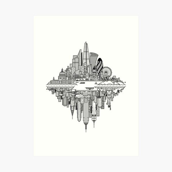 London & New York Reversible Skylines Art Print