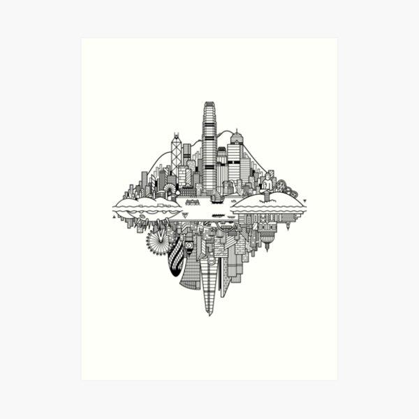 Hong Kong & London Reversible Skylines Art Print