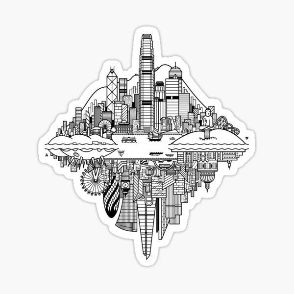 Hong Kong & London Reversible Skylines Sticker