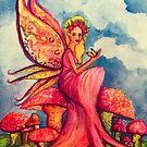 Magic Mushroom Fairy Fantasy Painting by Candace Byington