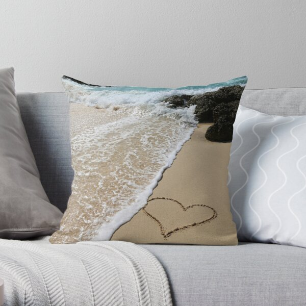 Barbados heart in the sand Throw Pillow