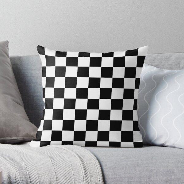 Schwarz-Weiß-Schachbrett-Muster Dekokissen