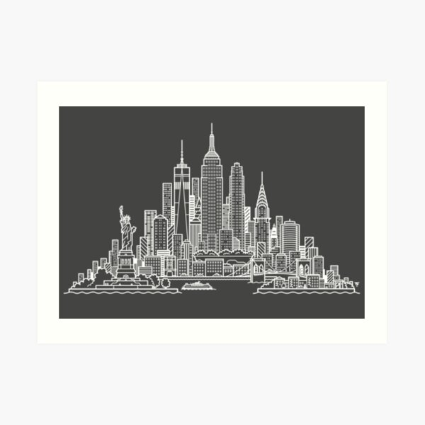 New York Skyline - White Art Print
