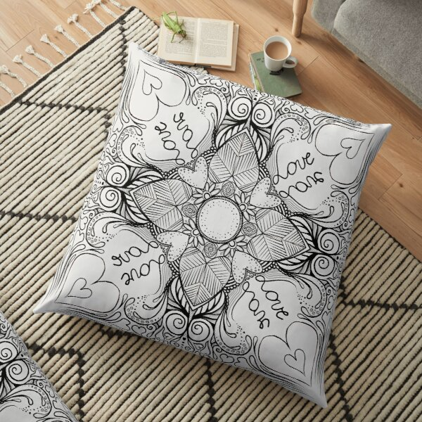 Valentine's Day (black on white) MandalART Floor Pillow