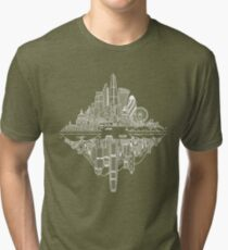 London & Hong Kong Reversible Skylines - White Tri-blend T-Shirt