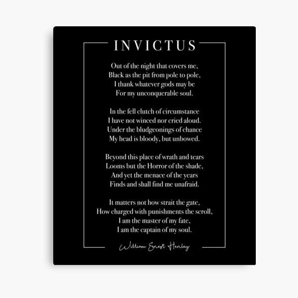Invictus (white lettering) Canvas Print