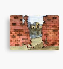 070 - IF ONLY THESE BRICKS COULD TALK I (WATERCOLOUR & INK) - 1997 Canvas Print