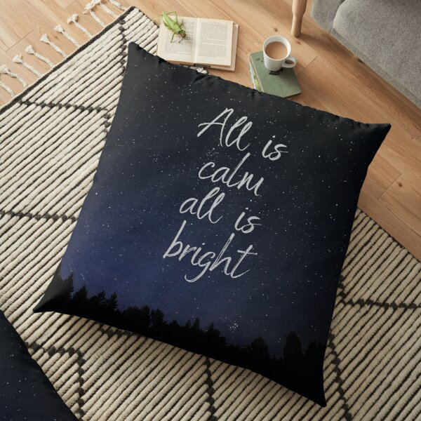 Silent Night, Christmas song lyrics Floor Pillow