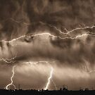 May Showers Lightning Thunderstorm Sepia HDR by Bo Insogna