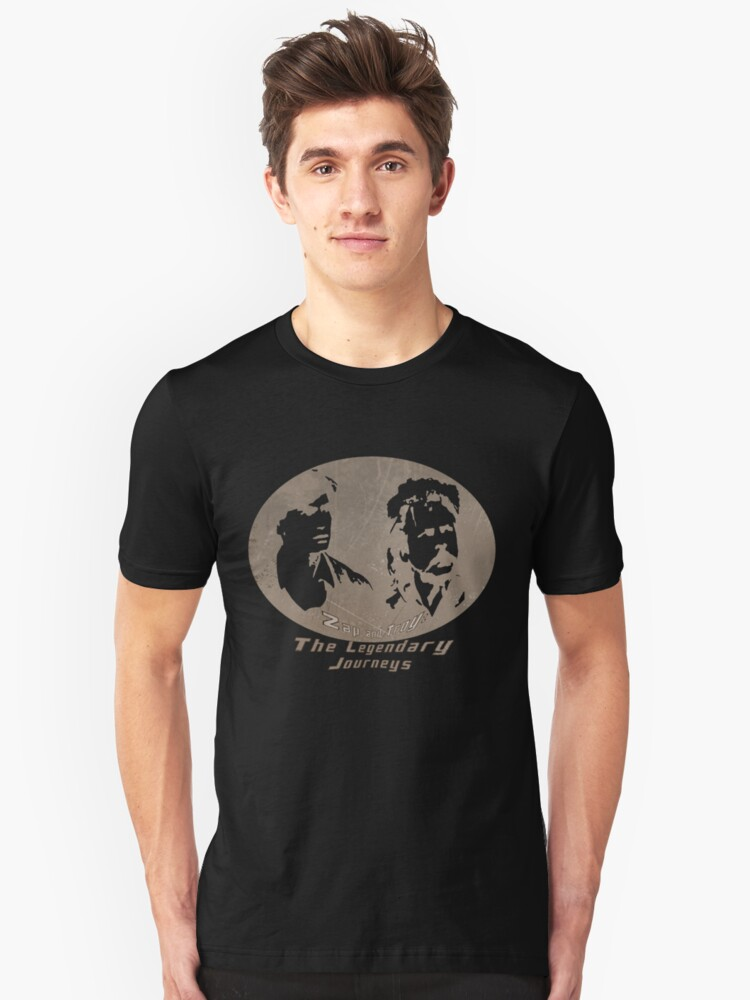 Rowsdower:  Zap And Troy the Legendary Journeys Tee (sepia version) Unisex T-Shirt Front