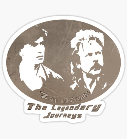 Rowsdower:  Zap And Troy the Legendary Journeys Tee (sepia version) Sticker