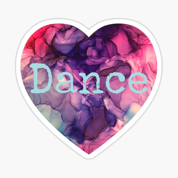 Love Dance purple pink and blue alcohol Ink abstract heart Sticker