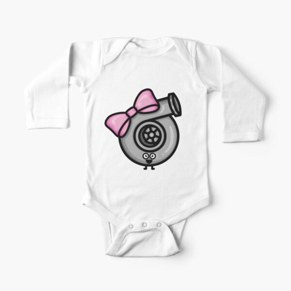 Cutest Turbo - Pink Bow Long Sleeve Baby One-Piece
