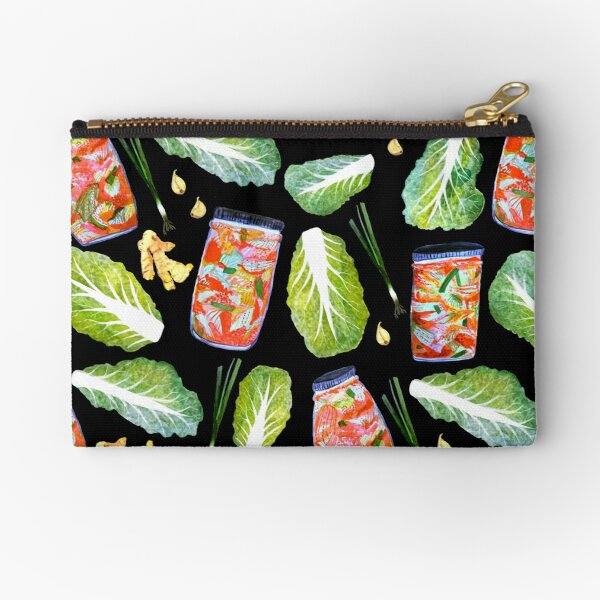 Kimchi Watercolor Ingredients Spicy Fermented Fun Pattern Black Zipper Pouch