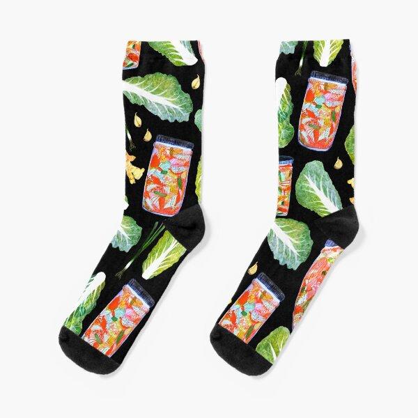 Kimchi Watercolor Ingredients Spicy Fermented Fun Pattern Black Socks