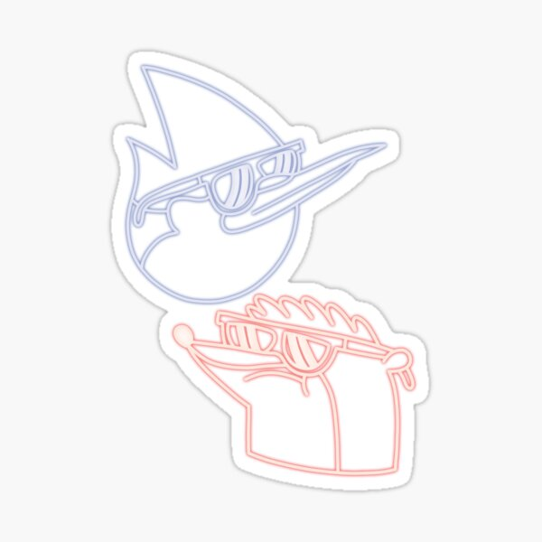 Mordecai and Rigby neon Sticker