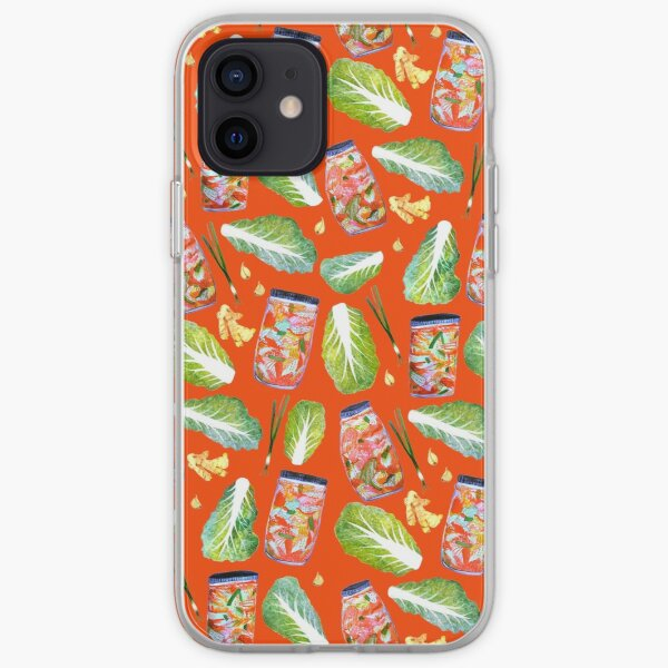 Kimchi Watercolor Ingredients Spicy Fermented Fun Pattern Red iPhone Soft Case