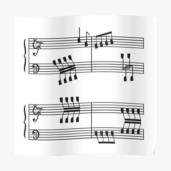 Rowing & Music 3 - Rowing with notes on the Music sheets Poster