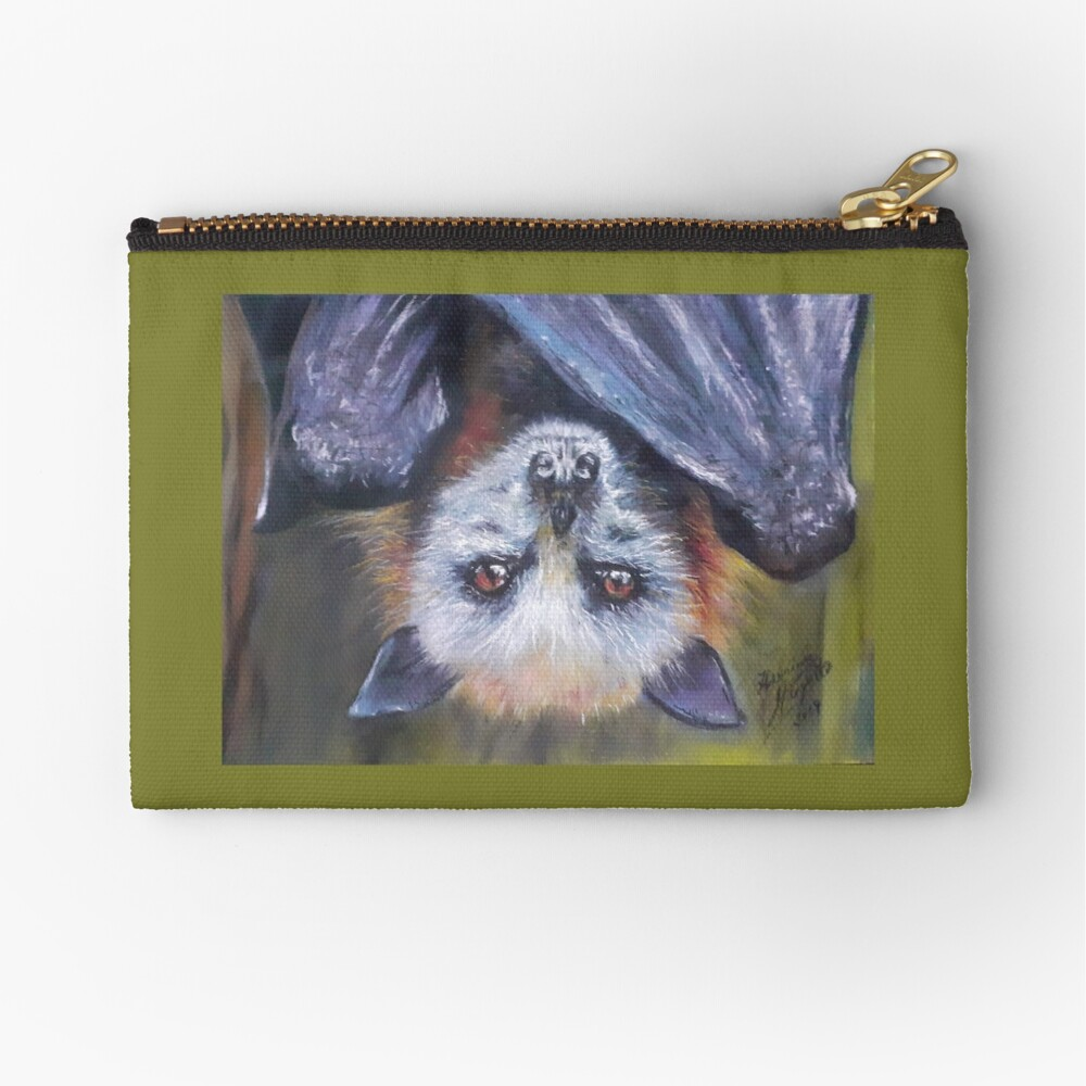 Batzilla - Serious Bat by Herminia Mesquita Zipper Pouch