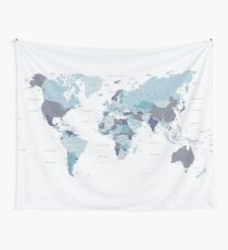 World Map in Blue Tapestry