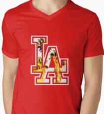 Camiseta para hombre de cuello en v LA- los angeles