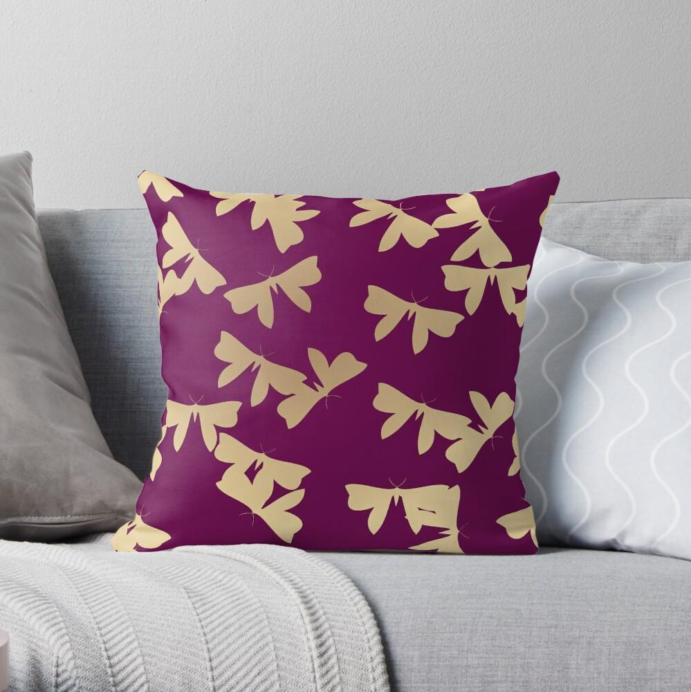 Moths - Gold on Purple Throw Pillow