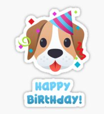Happy Birthday - cute puppy dog emoji Sticker