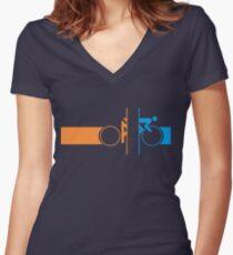 Bike Stripes Portal Women's Fitted V-Neck T-Shirt