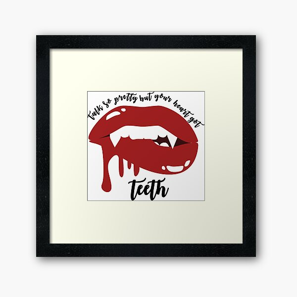 Heart Got Teeth Lyrics Framed Art Print