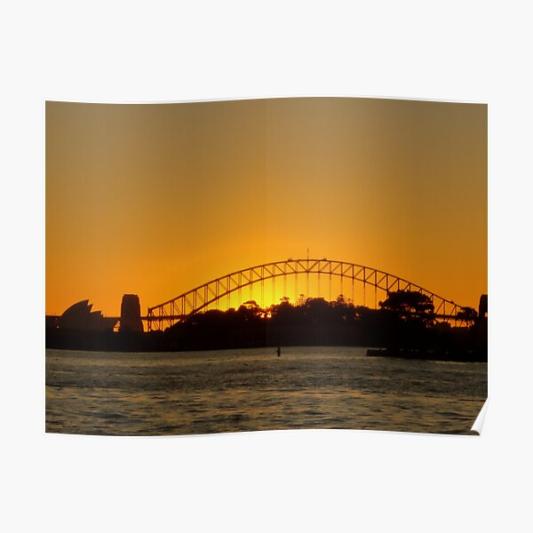 Sunset over Sydney Harbour Bridge and The Opera House Poster