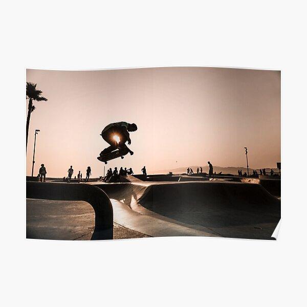 Horizontaler Skateboarding-Druck Venedig-Skatepark-Plakat-Fotografie-Druck Venice Beach Dusk Poster
