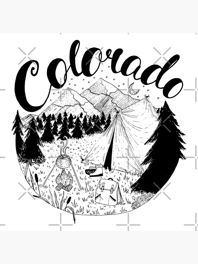 Colorado Mountains Ink Drawing by Chloes-drawings