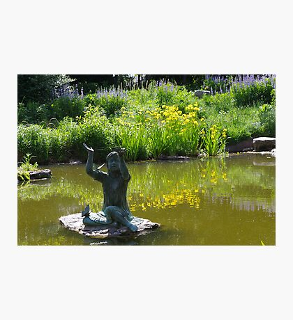 Statue of Little Girl with Butterflies in Pond Photographic Print