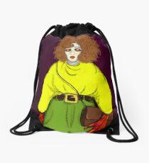 Girl with Handbag Drawstring Bag