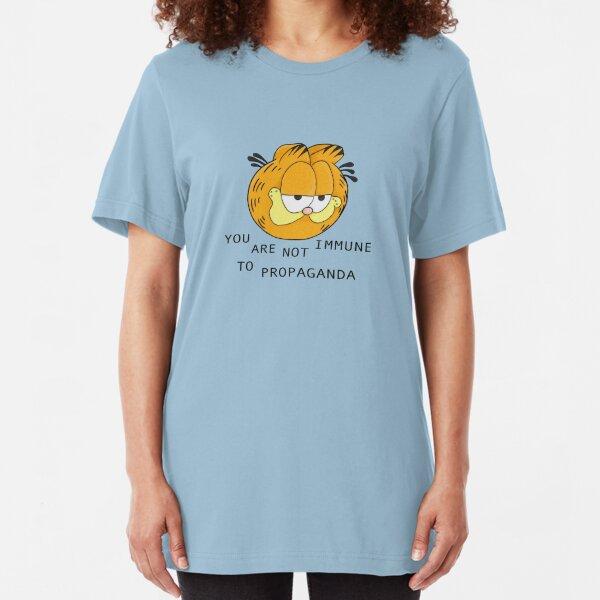 you are not immune to propaganda - garfield Slim Fit T-Shirt
