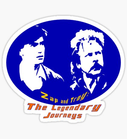 Rowsdower:  Zap And Troy the Legendary Journeys Tee (colorful version) Sticker