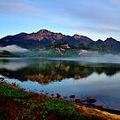 Mountain and Lake in the Morning by Daidalos