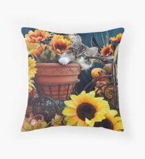 Venus ~ Cute Kitty Cat Kitten in Fall Colors Throw Pillow