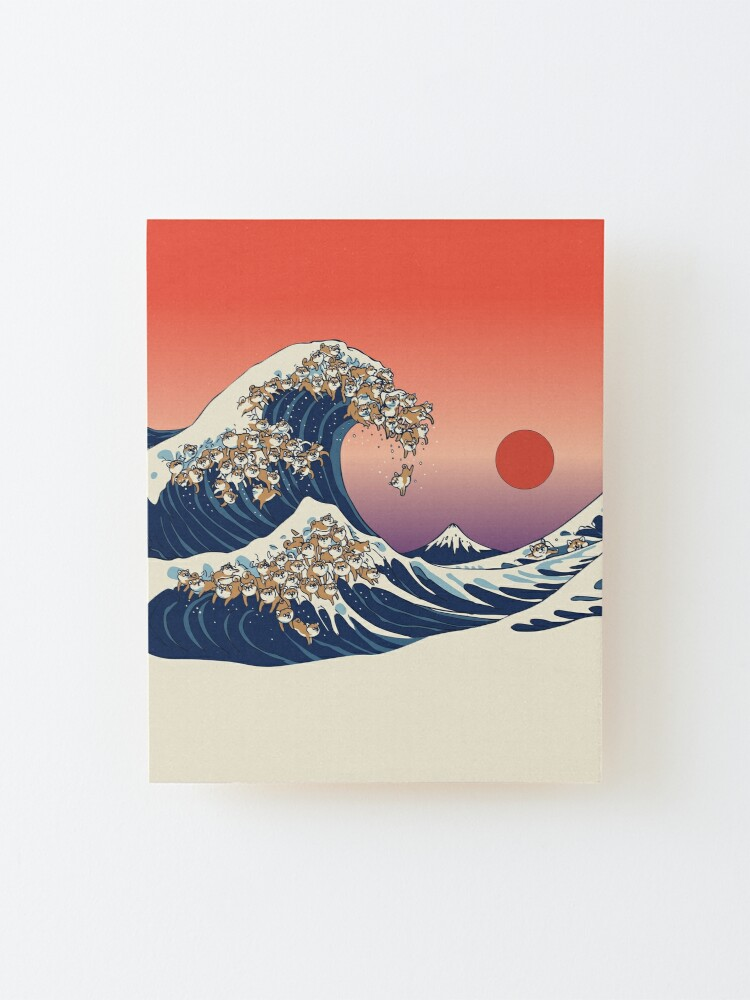 Alternate view of The Great Wave of Shiba Inu Mounted Print