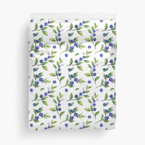Watercolor branches of blueberries, a delicate ornament of berries. Duvet Cover